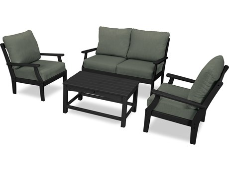 Trex Outdoor Furniture Yacht Club 4-Piece Deep Seating Chair Set in Charcoal Black / Cast Sage