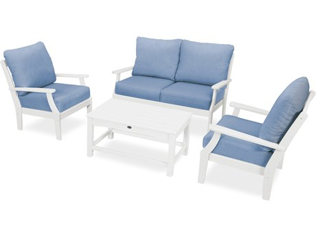 Trex Outdoor Furniture Yacht Club 4-Piece Deep Seating Chair Set in Classic White / Cast Ocean