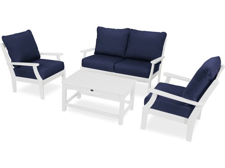 Trex Outdoor Furniture Yacht Club 4-Piece Deep Seating Chair Set in Classic White / Navy