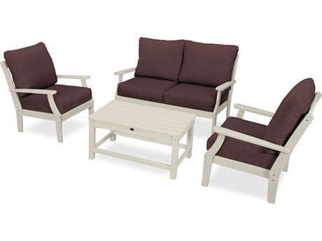 Trex Outdoor Furniture Yacht Club 4-Piece Deep Seating Chair Set in Sand Castle / Cast Currant