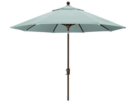 Trex Outdoor Furniture 9' Push Button Tilt Umbrella with Bronze Base in Canvas Spa PatioLiving