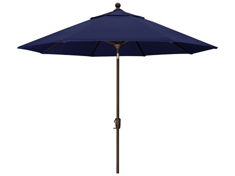 Trex Outdoor Furniture 9' Push Button Tilt Umbrella with Bronze Base in Canvas Navy PatioLiving