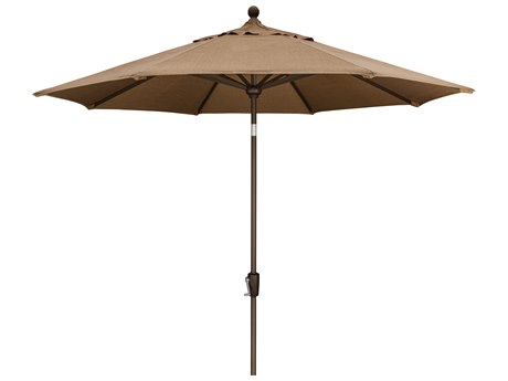 Trex Outdoor Furniture 9' Push Button Tilt Umbrella with Bronze Base in Linen Sesame