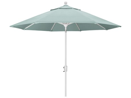 Trex Outdoor Furniture 9' Push Button Tilt Umbrella with White Base in Canvas Spa