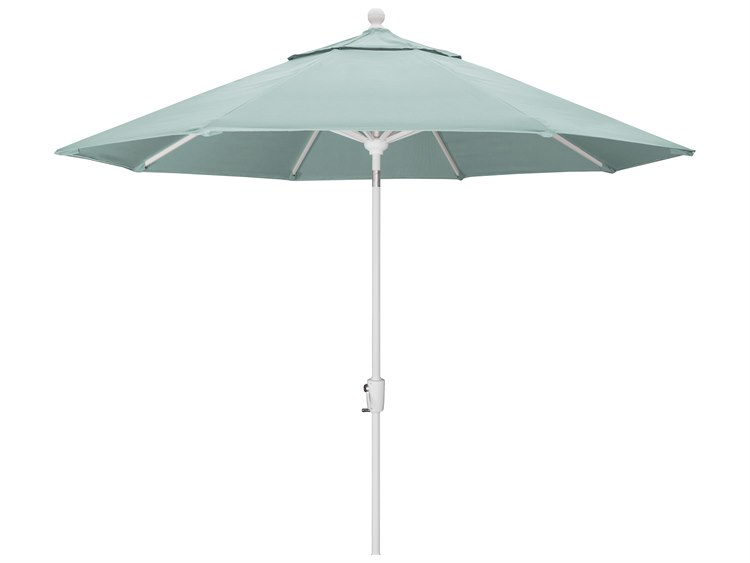 Trex Outdoor Furniture 9' Push Button Tilt Umbrella with White Base in Canvas Spa PatioLiving