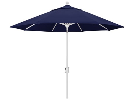 Trex Outdoor Furniture 9' Push Button Tilt Umbrella with White Base in Canvas Navy PatioLiving