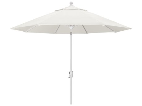 Trex Outdoor Furniture 9' Push Button Tilt Umbrella with White Base in Bird's Eye