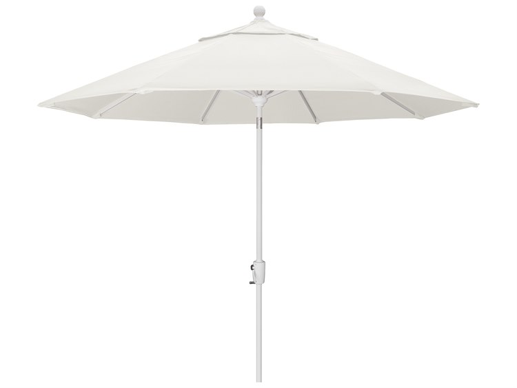 Trex Outdoor Furniture 9' Push Button Tilt Umbrella with White Base in Bird's Eye PatioLiving