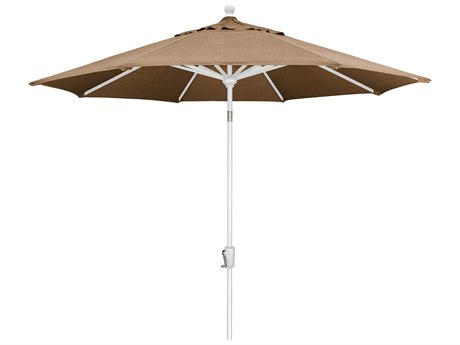 Trex Outdoor Furniture 9' Push Button Tilt Umbrella with White Base in Linen Sesame PatioLiving