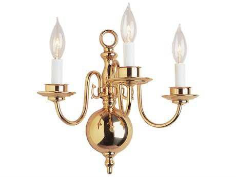 Trans Globe Lighting Mission Indoor Polished Brass Three-Light Wall Sconce
