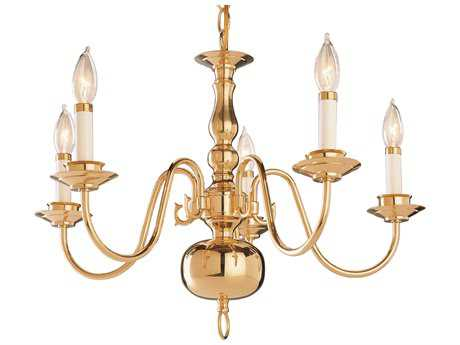 Trans Globe Lighting Mission Indoor Polished Brass Five-Light 22 Wide Mini Chandelier