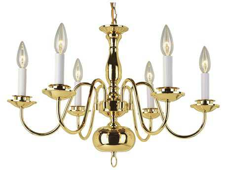 Trans Globe Lighting Mission Indoor Polished Brass Six-Light 23 Wide Mini Chandelier