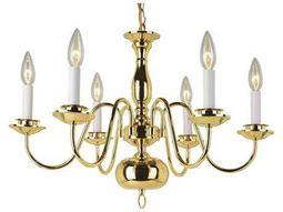 Trans Globe Lighting Mission Indoor Polished Brass Six-Light 23 Wide Mini Chandelier