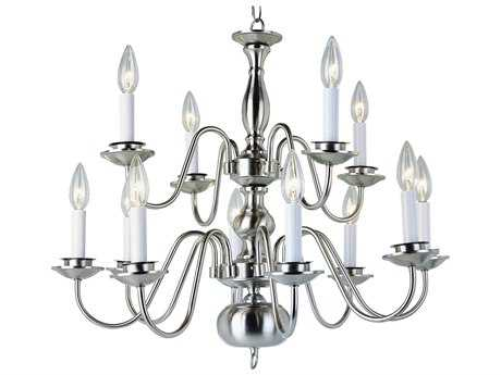 Trans Globe Lighting Mission Indoor Brushed Nickel 12-Light 26 Wide Chandelier