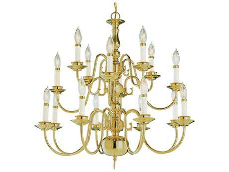 Trans Globe Lighting Mission Indoor Polished Brass 16-Light 26 Wide Chandelier