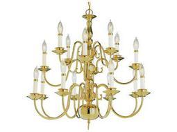 Trans Globe Lighting Mission Indoor Polished Brass 16-Light 26 Wide Chandelier