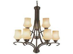 Trans Globe Lighting Mid-Century Antique Bronze Nine-Light 29 Wide Chandelier