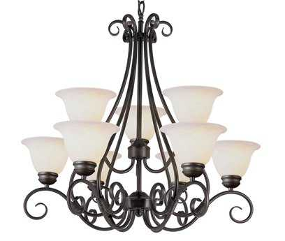 Trans Globe Lighting French Country Pewter Nine-Light 30 Wide Chandelier