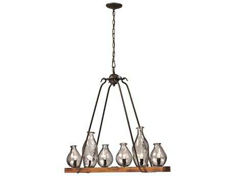 Trans Globe Lighting Rustic lodge Black and Wood Six-Light Island Light