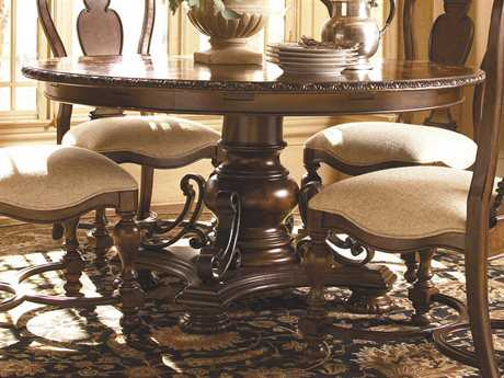 Universal Furniture Bolero 76'' Round Old World Seville Pedestal Dining Table