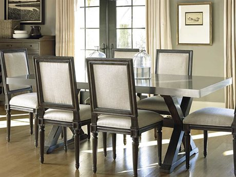 Universal Furniture Berkeley-3 80''L x 40''W Rectangular Brownstone with Stainless Steel Dining Table