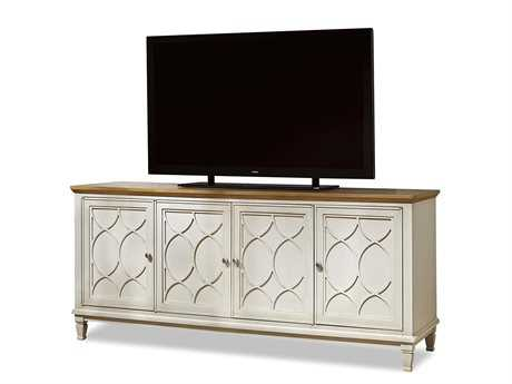 Universal Furniture Moderne Muse 76''L x 22''W Canvas & Bisque Top Entertainment Console