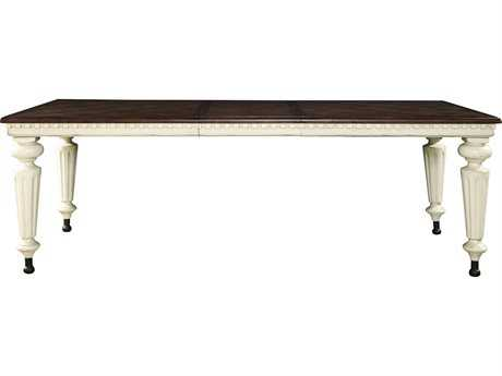 Universal Furniture Sojourn Summer White base with Pecky Pecan Top 92''L x 44''W Rectangular Dining Table