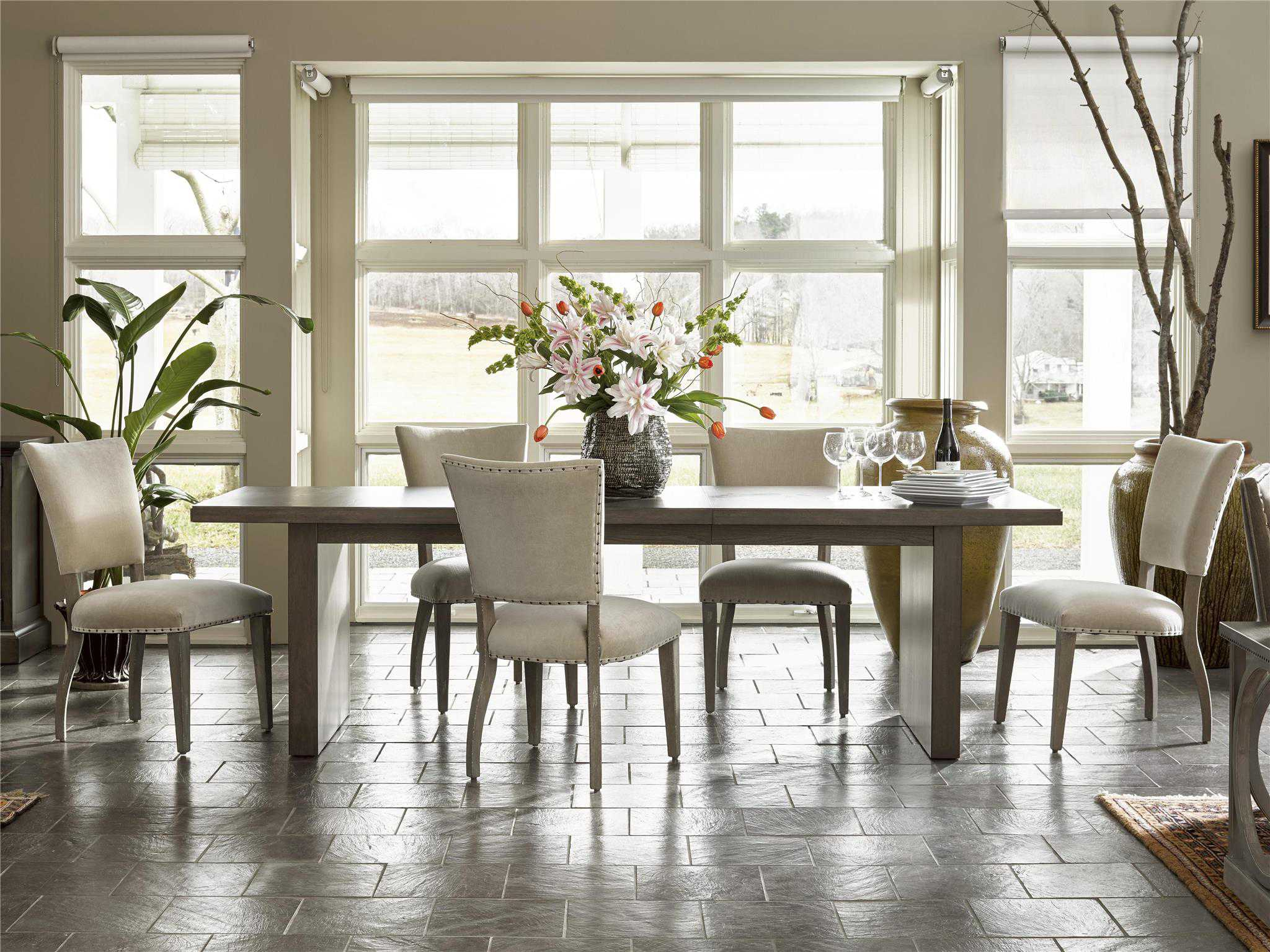 Universal furniture curated greystone pearson dining side for Top rated dining room tables