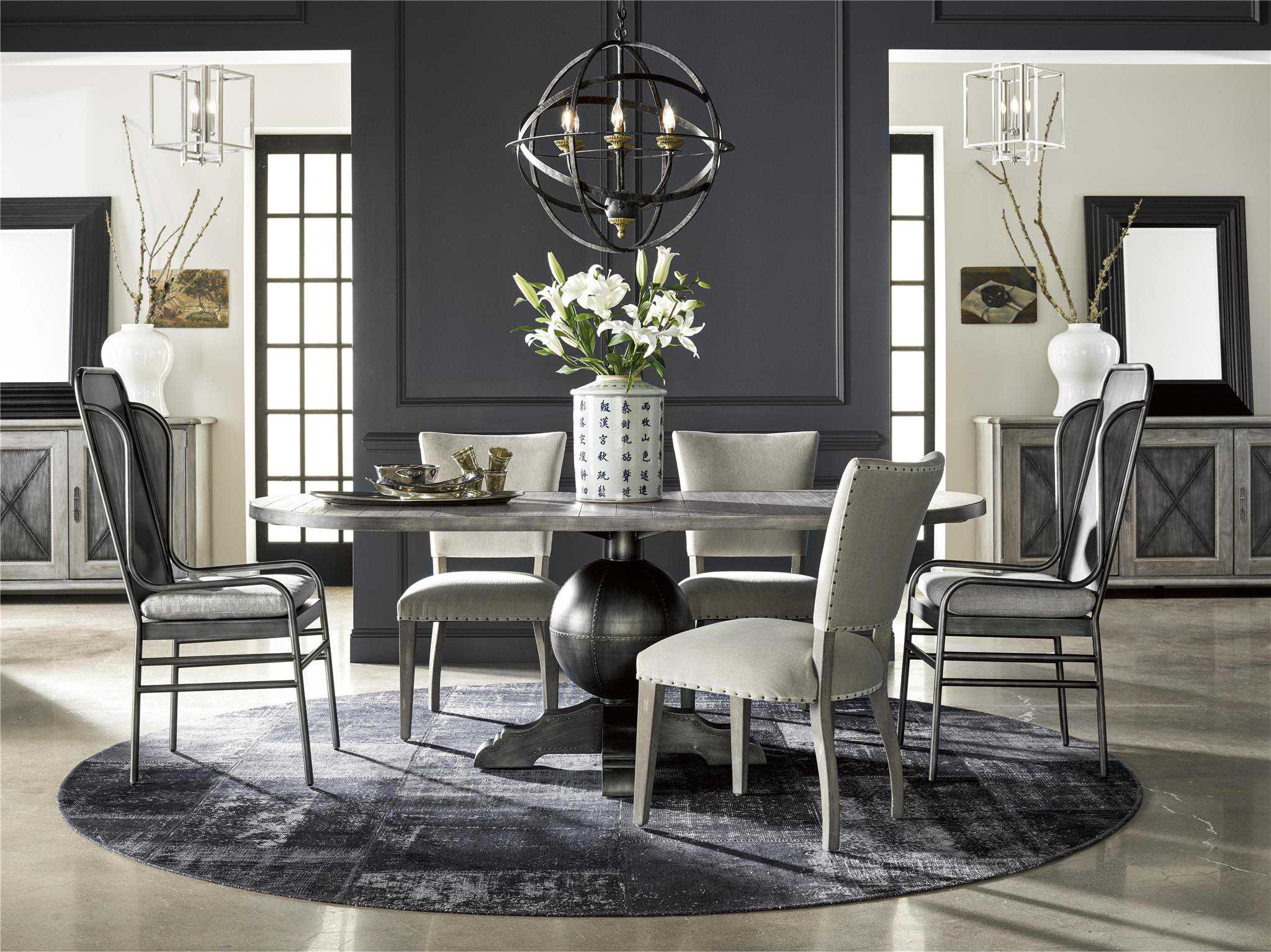 Universal furniture curated 84 39 39 l x 40 39 39 w oval greystone for Top rated dining room tables