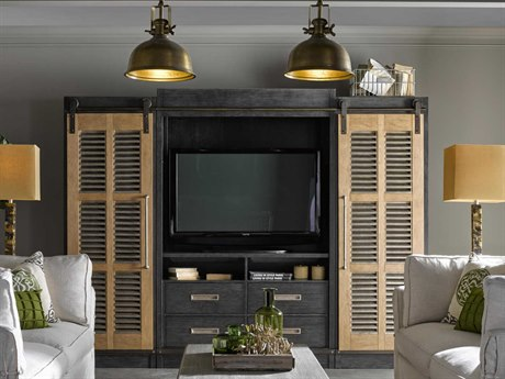 Universal Furniture Curated Cobal Black with Bisque 113''L x 20''W Darcy Entertainment Center