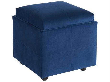 Universal Furniture Jasper Sapphire Velvet Midnight Blue Ottoman