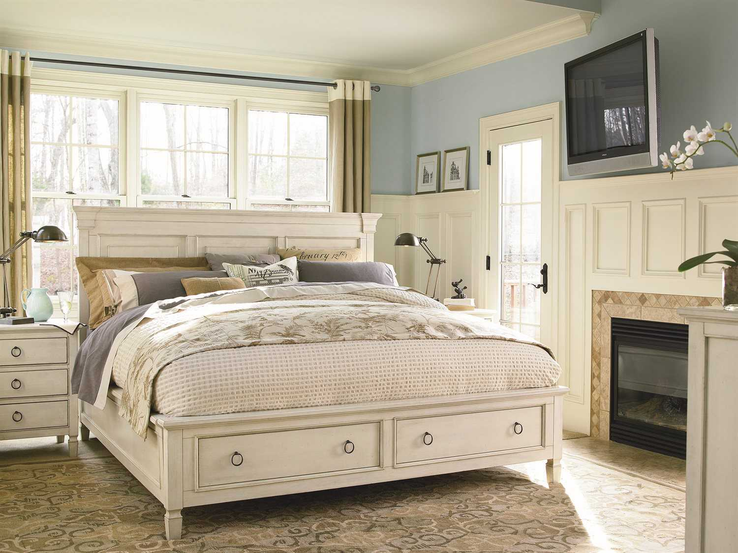 Universal Furniture Summer Hill Cotton King Size Panel Bed With Storage Uf987260sb