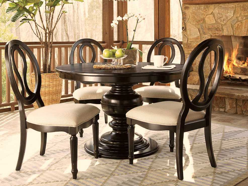 universal furniture summer hill 70 39 39 round midnight dining table uf988656. Black Bedroom Furniture Sets. Home Design Ideas