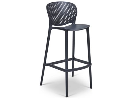 Urbia Outdoor Bailey Black Grey Recycled Plastic Bar Stool (Sold in 4)