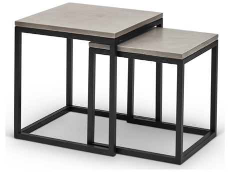 Urbia Outdoor Stax Dark Grey / Black 15'' Wide Steel Square End Table (Set of 2)