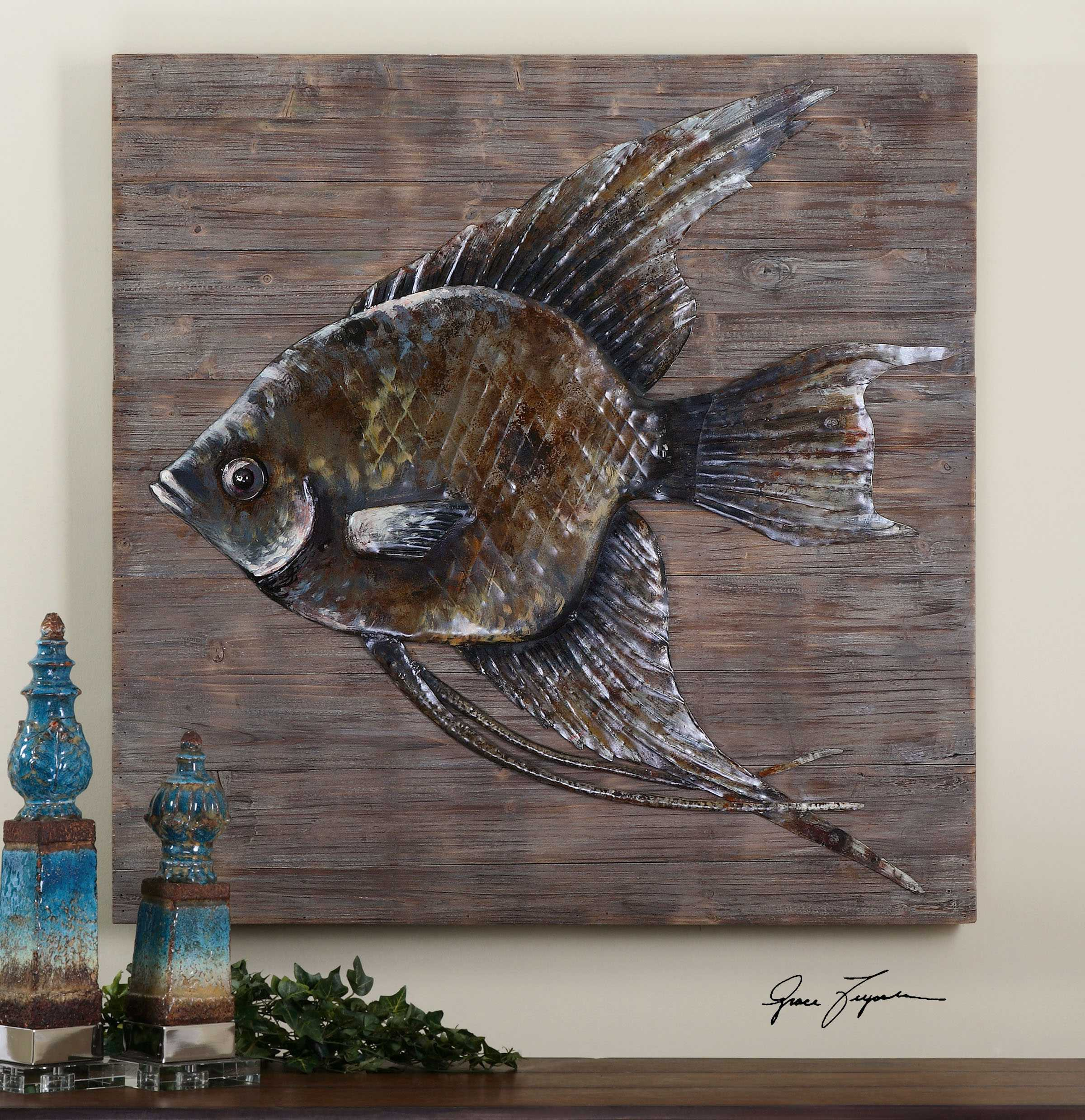 Uttermost iron fish wall art ut04273 for Fish wall decor