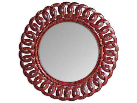 Uttermost Sassia 39 Red Round Wall Mirror