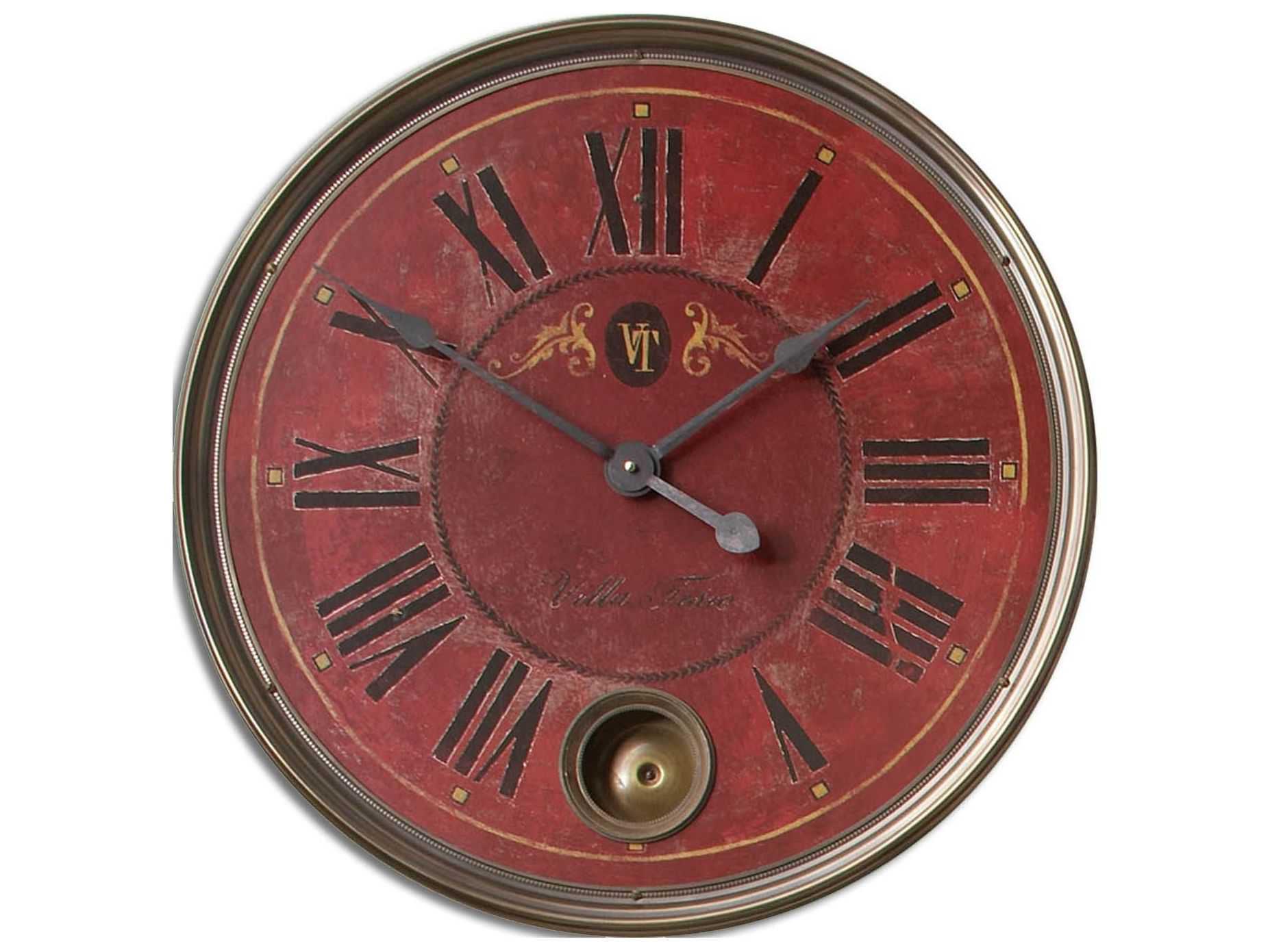 Uttermost Regency Villa Tesio 23 Inch Red Wall Clock Ut06037