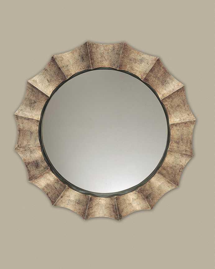 Uttermost gotham 41 round u antique silver wall mirror for Round silver wall mirror