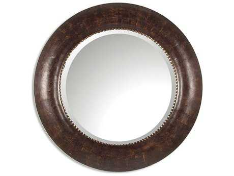 Uttermost Leonzio 42 Round Leather Wall Mirror