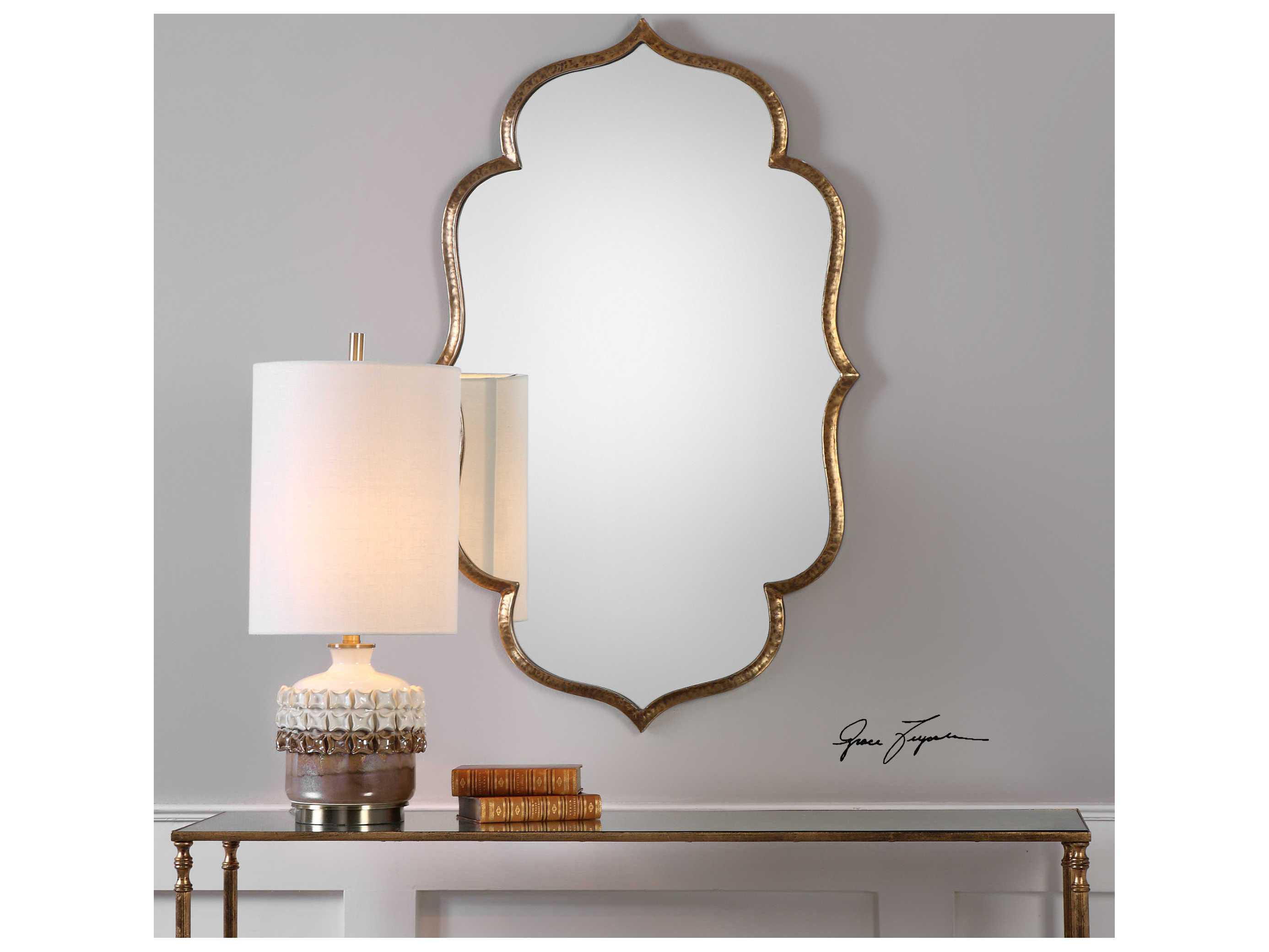 Gold Metal Wall Mirror: Uttermost Zina Antique Metallic Gold 24''W X 39''H Wall