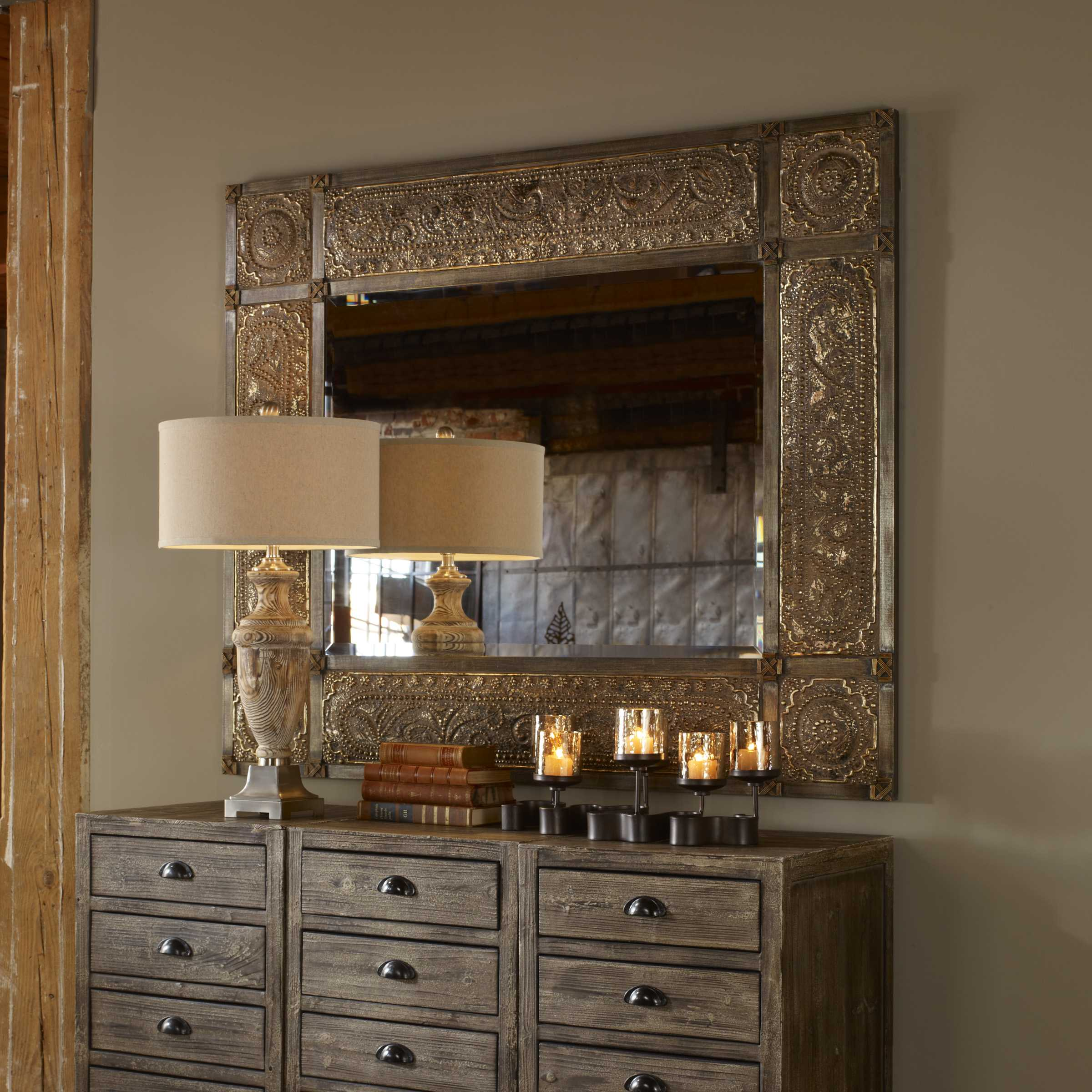 Uttermost harvest serenity 50 x 60 champagne gold wall for Miroir 50 x 60