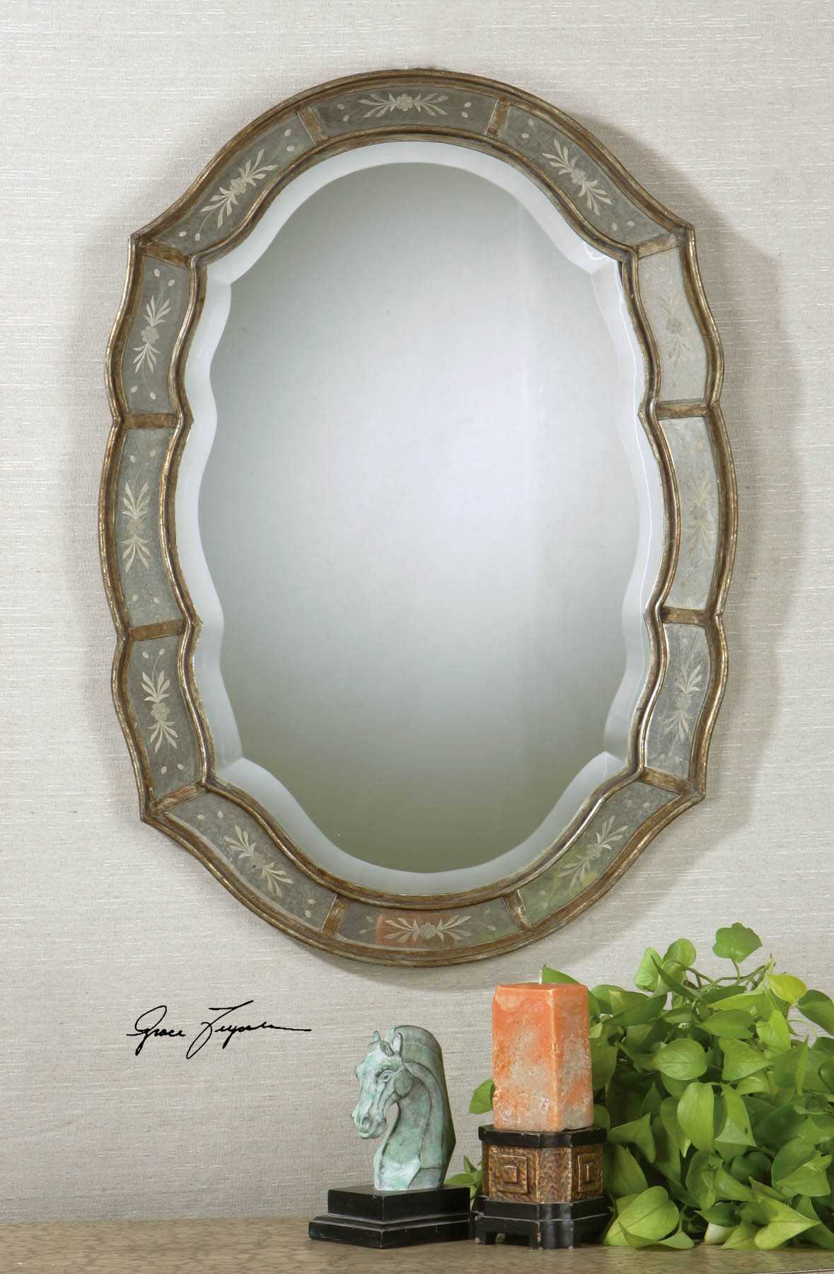 Uttermost Fifi 25 X 35 Etched Antique Gold Wall Mirror