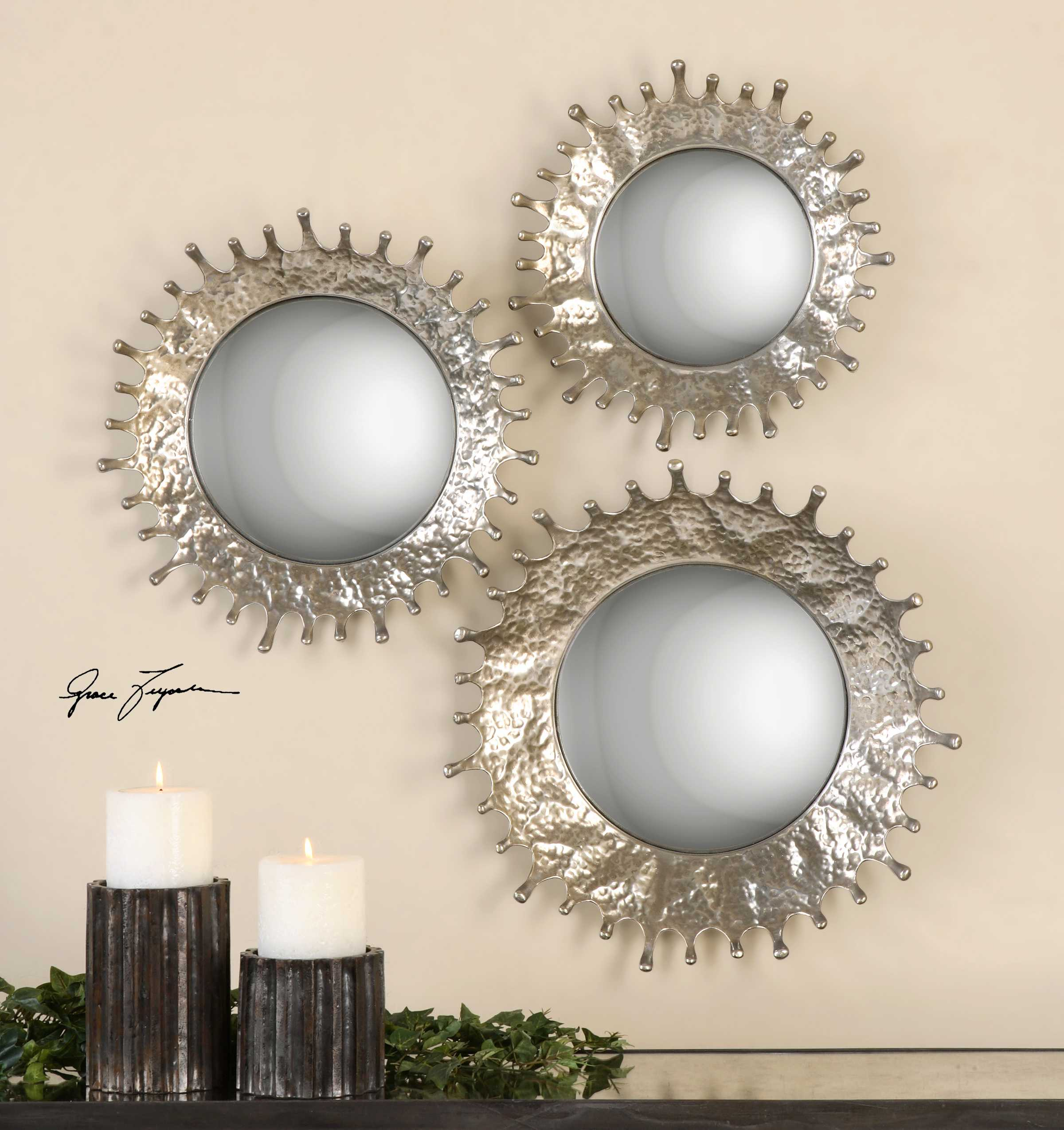 Uttermost Rain Splash 20 Round Wall Mirrors 3 Piece Set