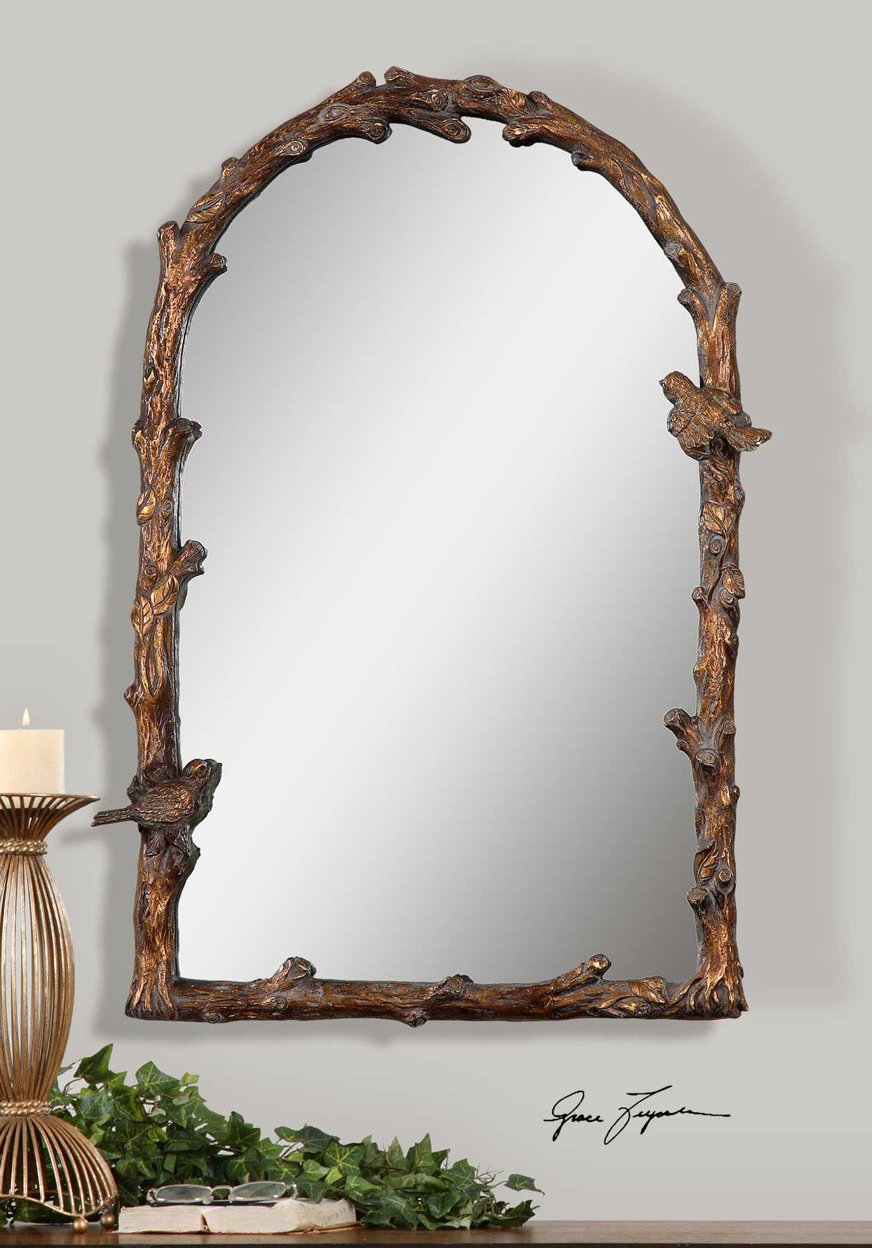 Uttermost Paza 26 X 37 Antique Gold Arch Wall Mirror Ut13774