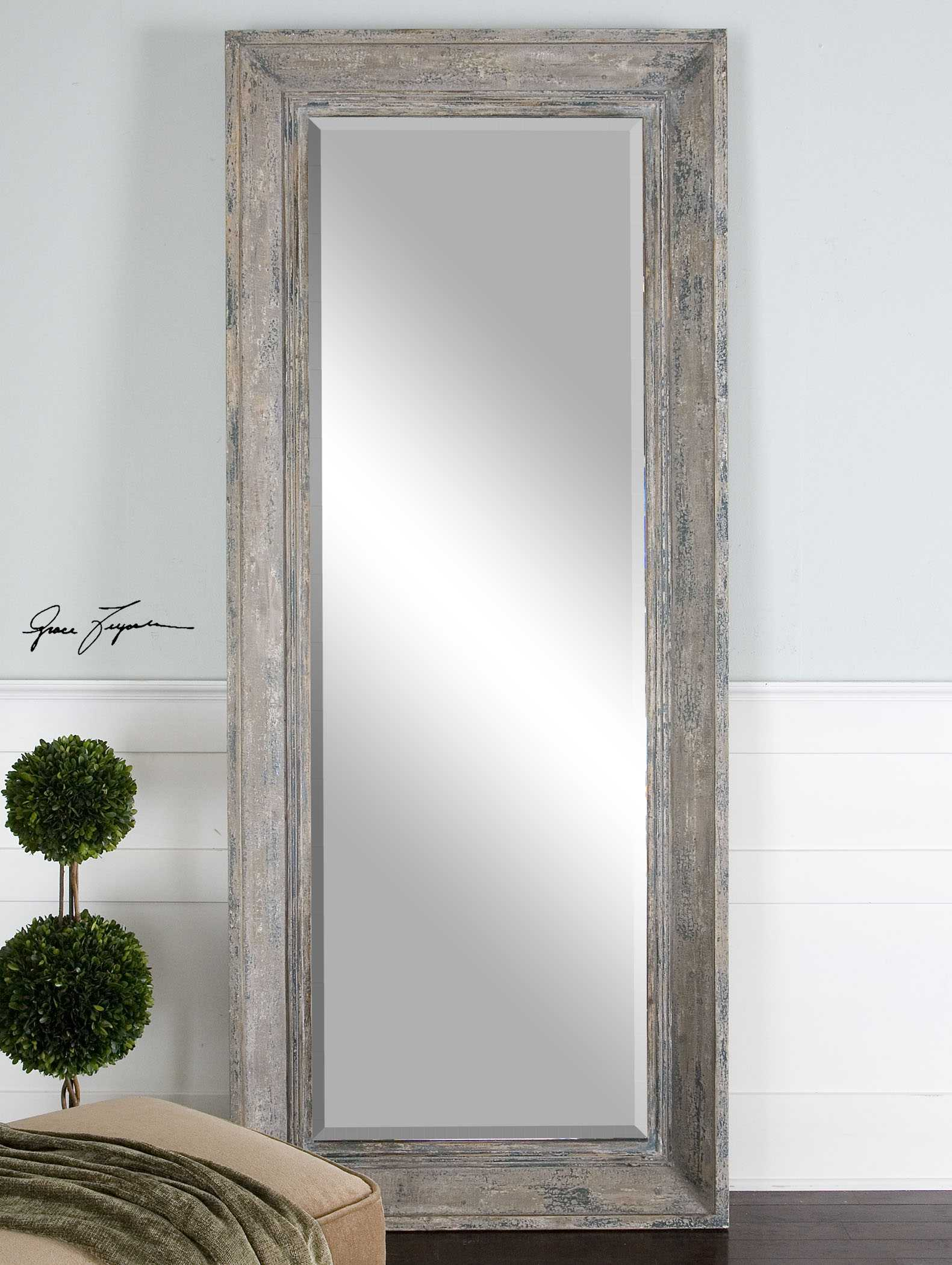 Uttermost Missoula 34 x 82 Distressed Leaner Floor Mirror | UT13830