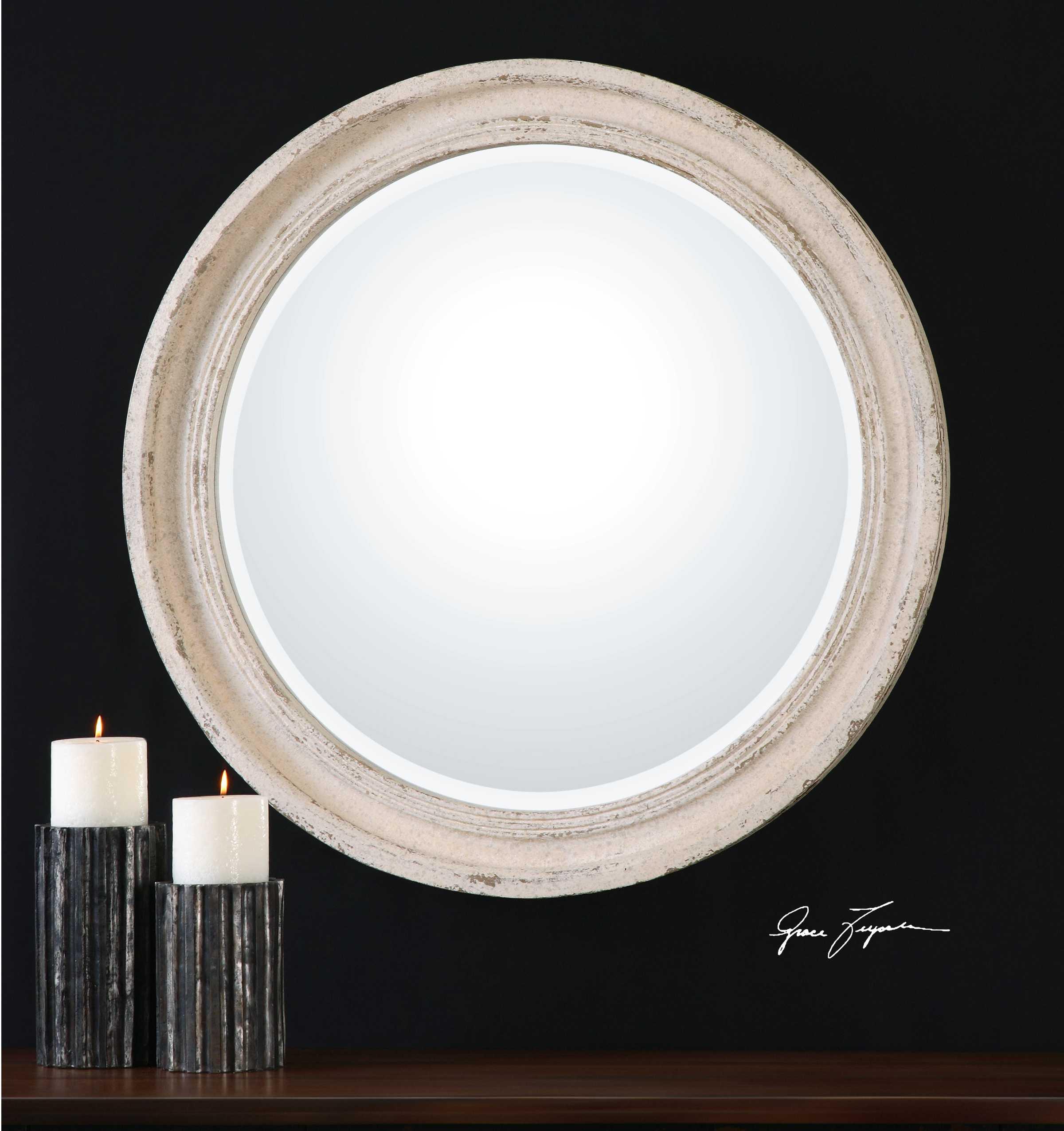 Uttermost Busalla 36 X 36 Ivory Round Wall Mirror Ut13904