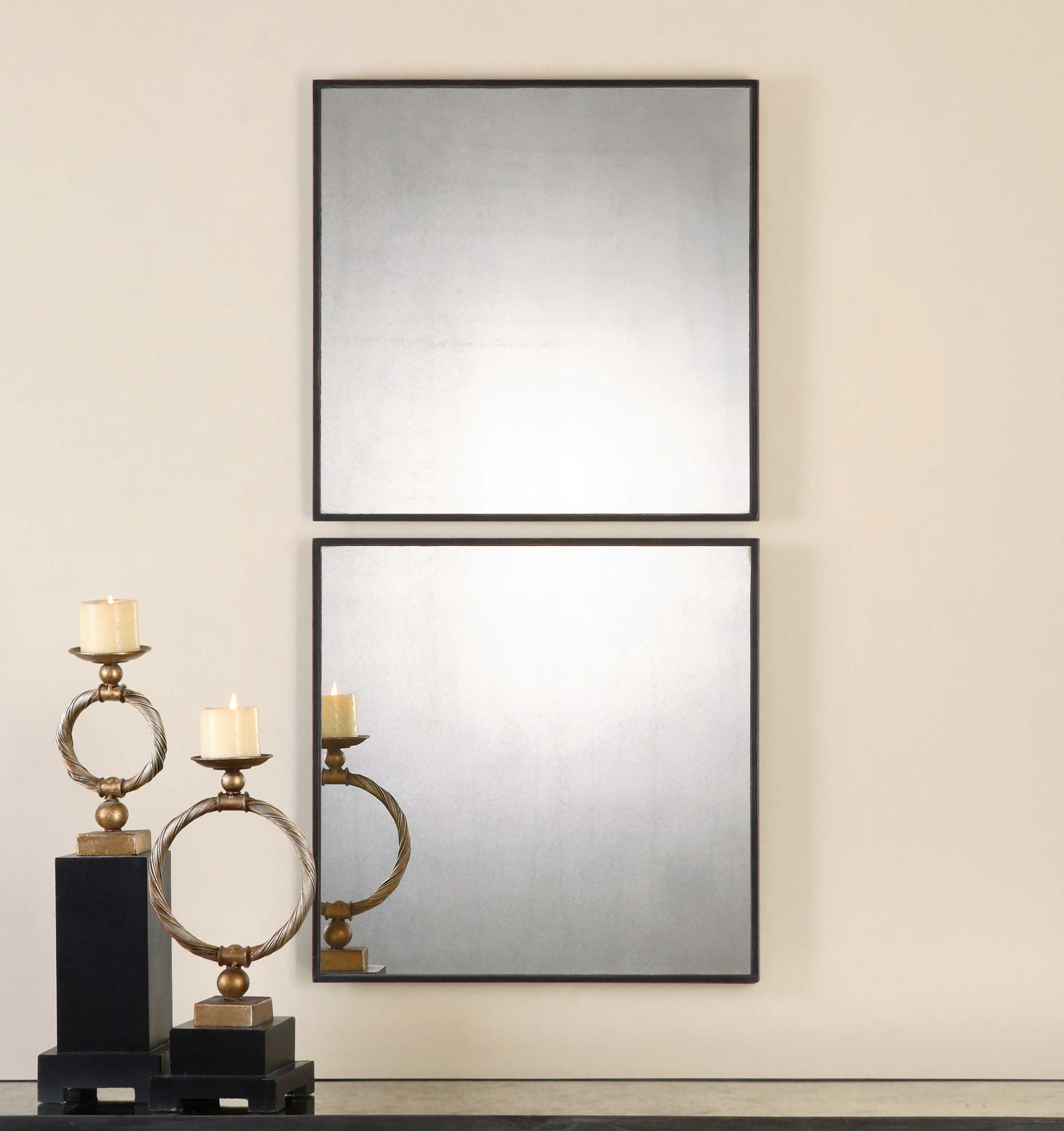 Vivian Wall Mirror By Uttermost: Uttermost Matty 24 X 24 Antiqued Square Wall Mirrors (2