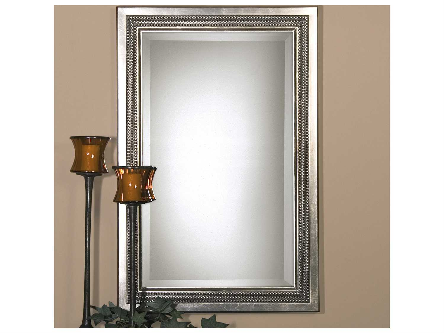 Uttermost Triple Beaded Gray Vanity Mirror