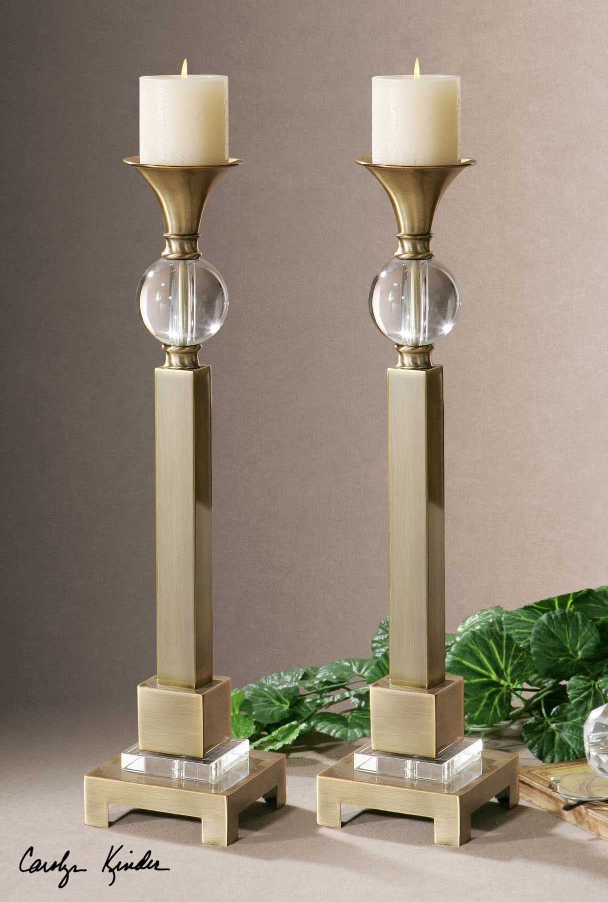 Uttermost Euron Coffee Bronze Candle Holder 2 Piece Set